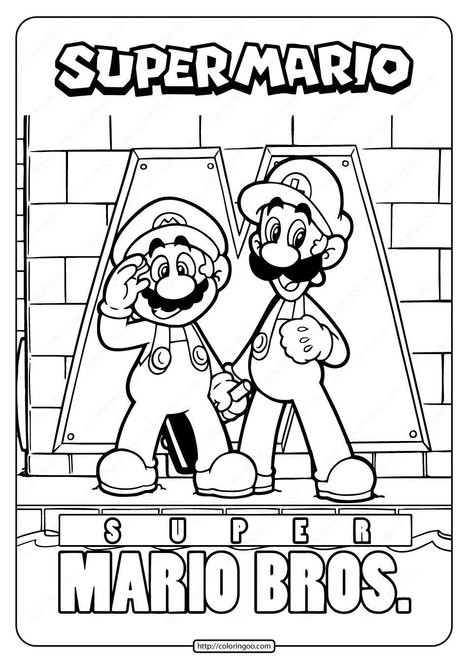 Free Printable Super Mario Bros Coloring Page