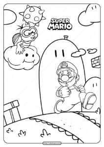 Free Printable Super Mario and Yoshi Coloring Page