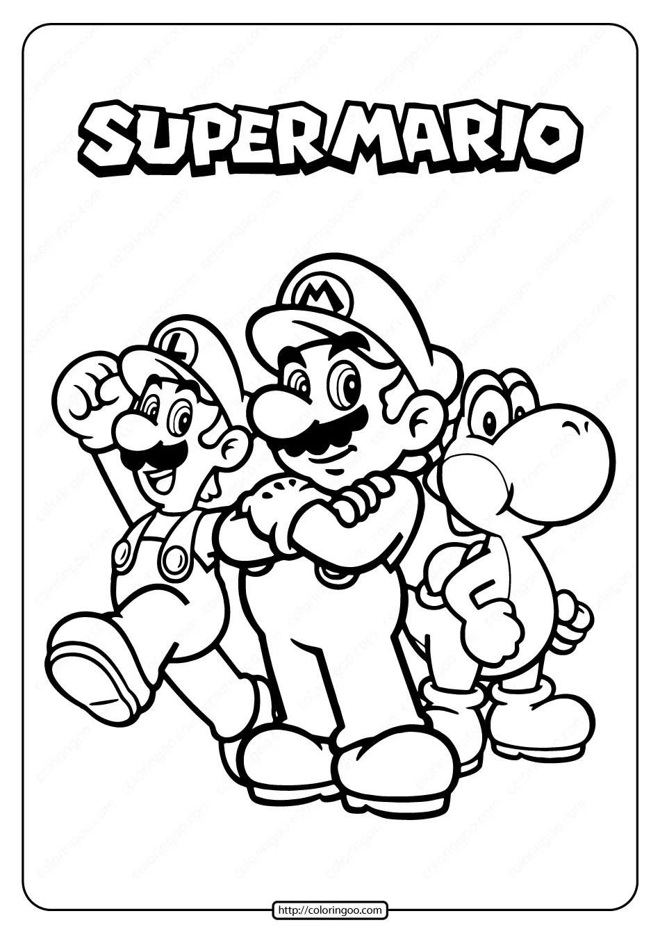 Free Printable Super Mario Pdf Coloring Page