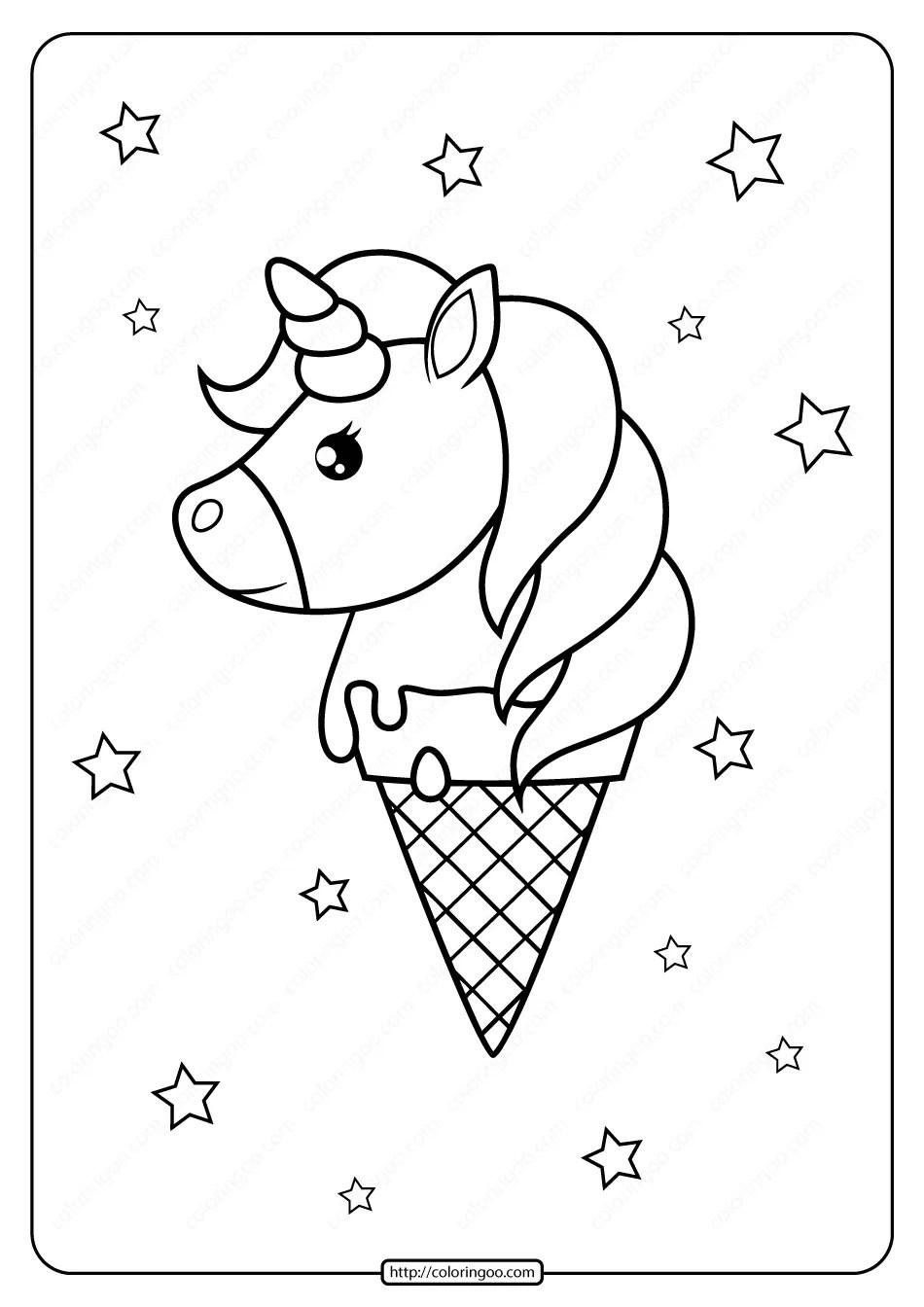 Printable Unicorn Ice Cream Cone Coloring Page