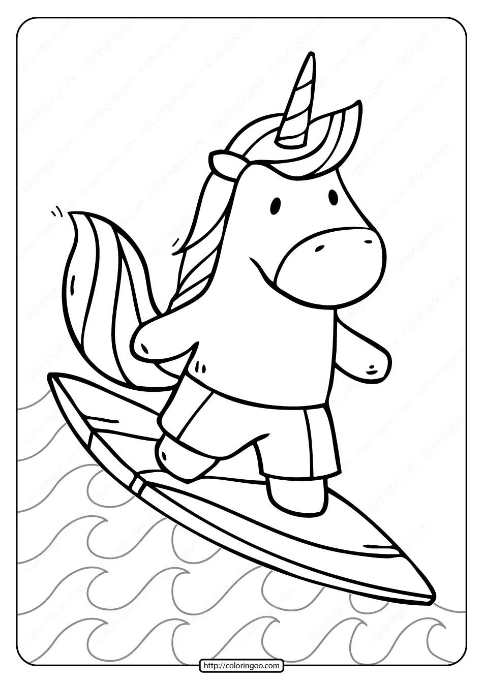 Free Printable Unicorn Surfer Pdf Coloring Page