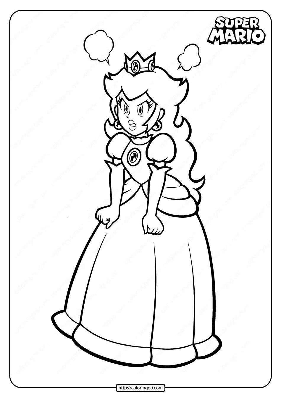 Printable Super Princess Peach Pdf Coloring Page