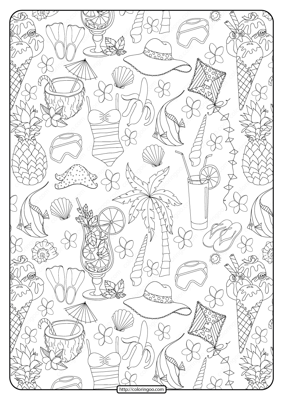 Free Printable Summer Collage Pdf Coloring Page