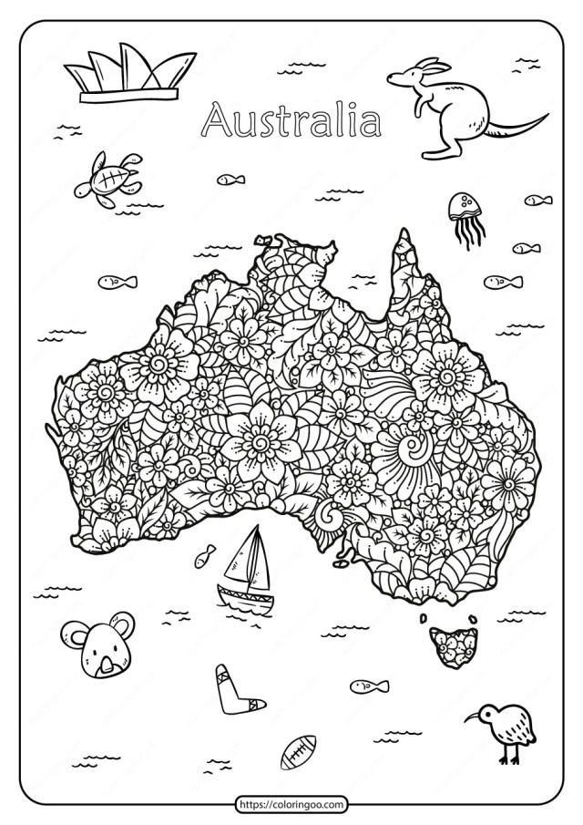 Free Printable Happy Australia Day Pdf Coloring Page