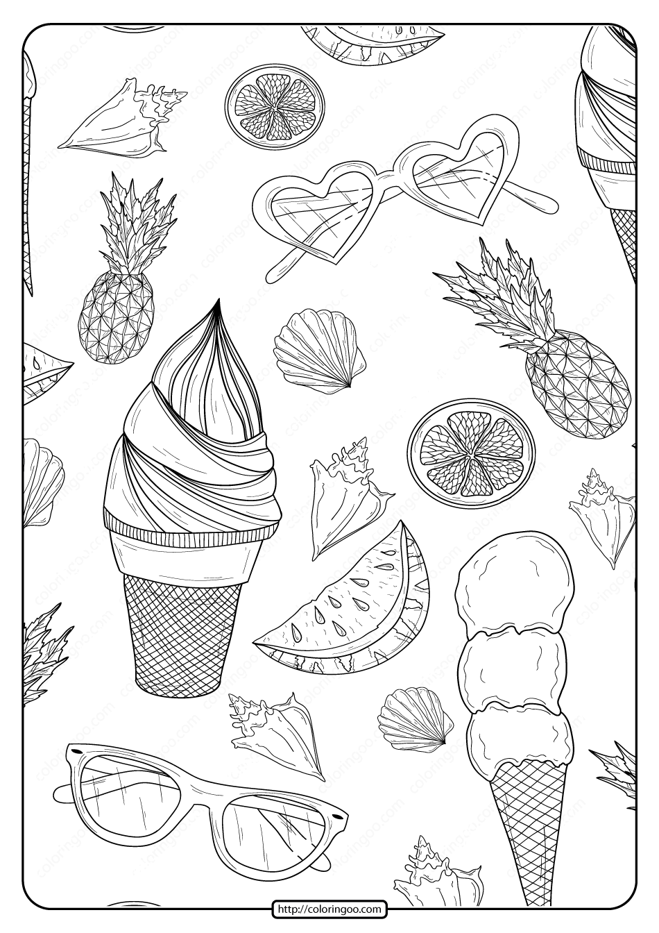 Free Printable Summer Patterns Pdf Coloring Page