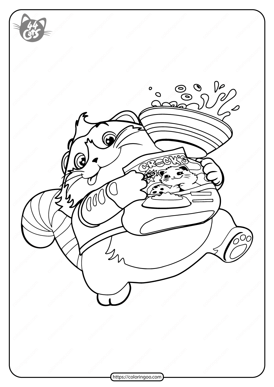Free Printable 44 Cats Meatball Pdf Coloring Page