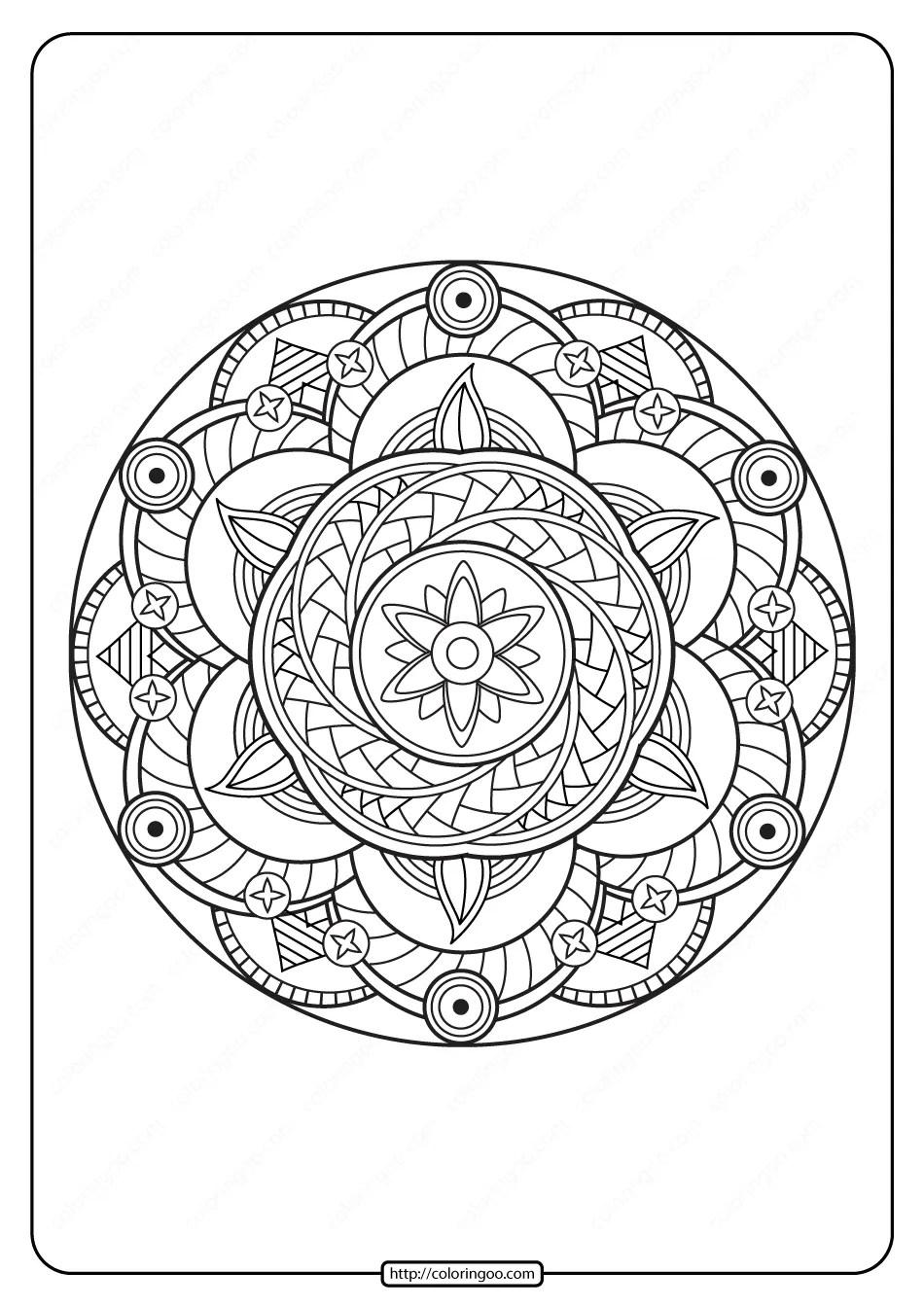 Free Printable Adult Floral Mandala Coloring Page 62