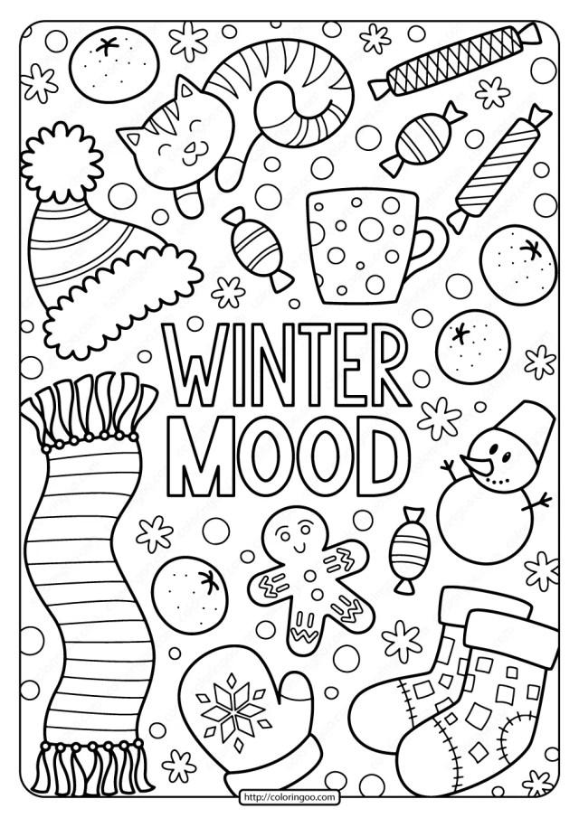 Free Printable Winter Mood Pdf Coloring Page