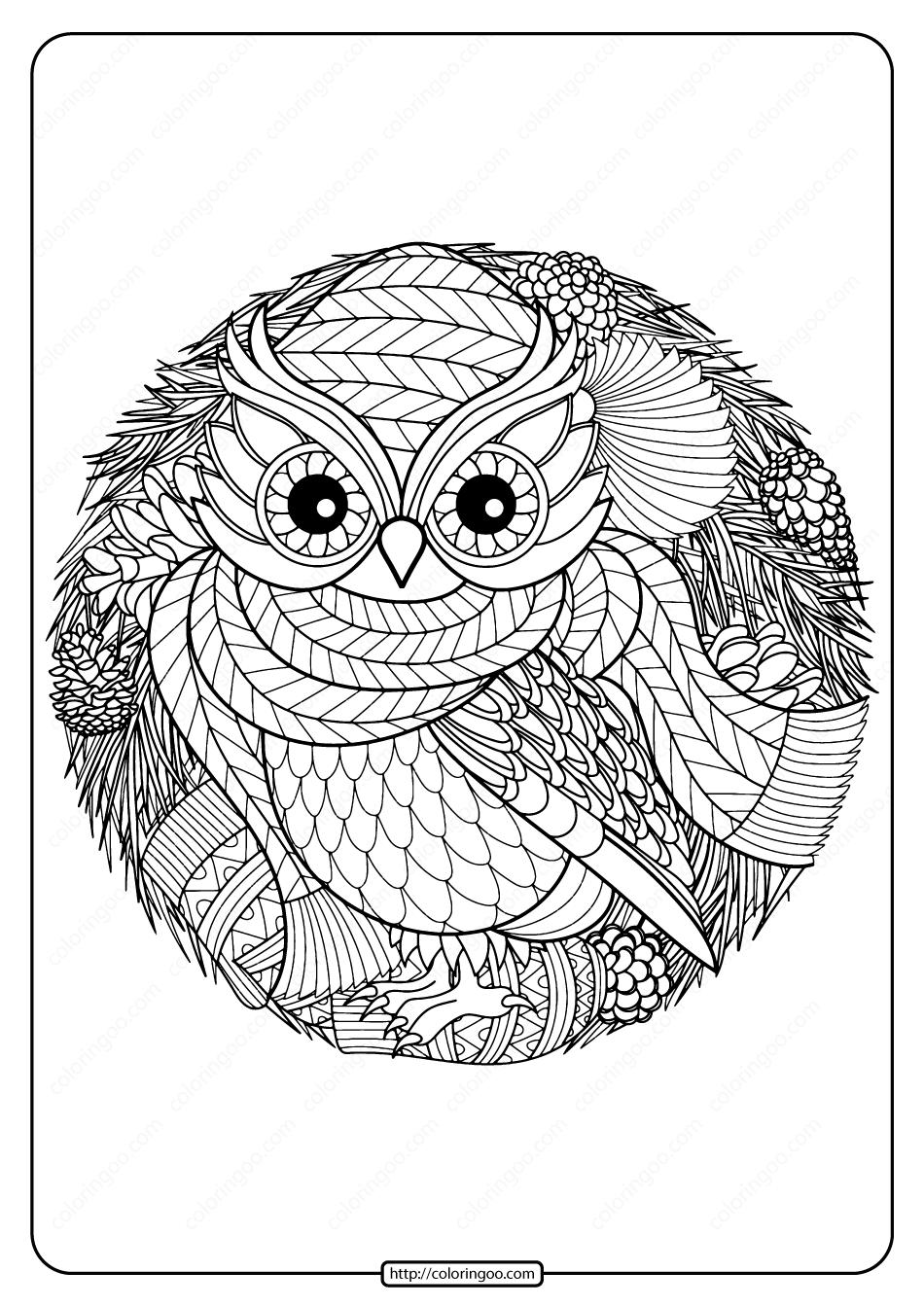 Free Printable Winter Owl Pdf Coloring Page