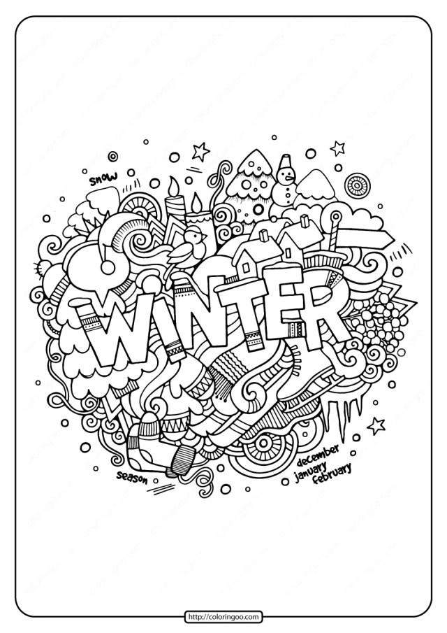 Free Printable Winter Pdf Coloring Page