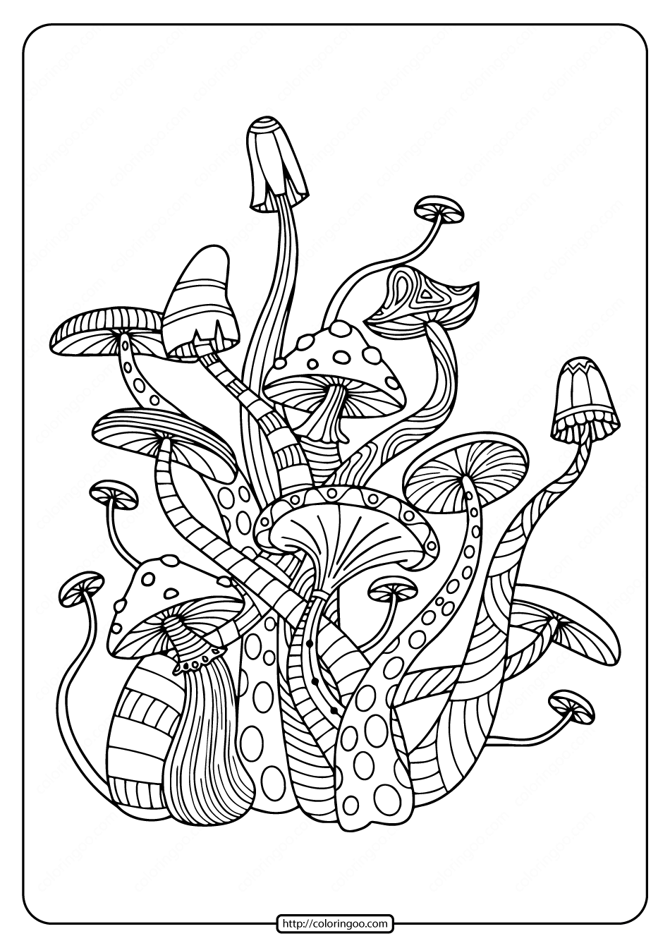Amazing Mushrooms Pdf Coloring Pages