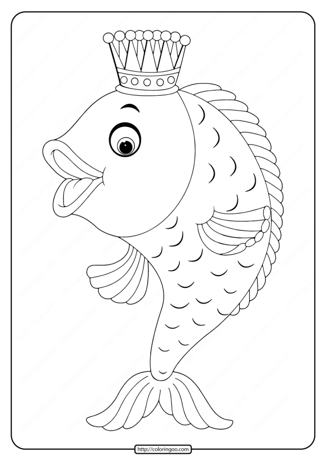 Printable Fairy Tale Goldfish Coloring Page
