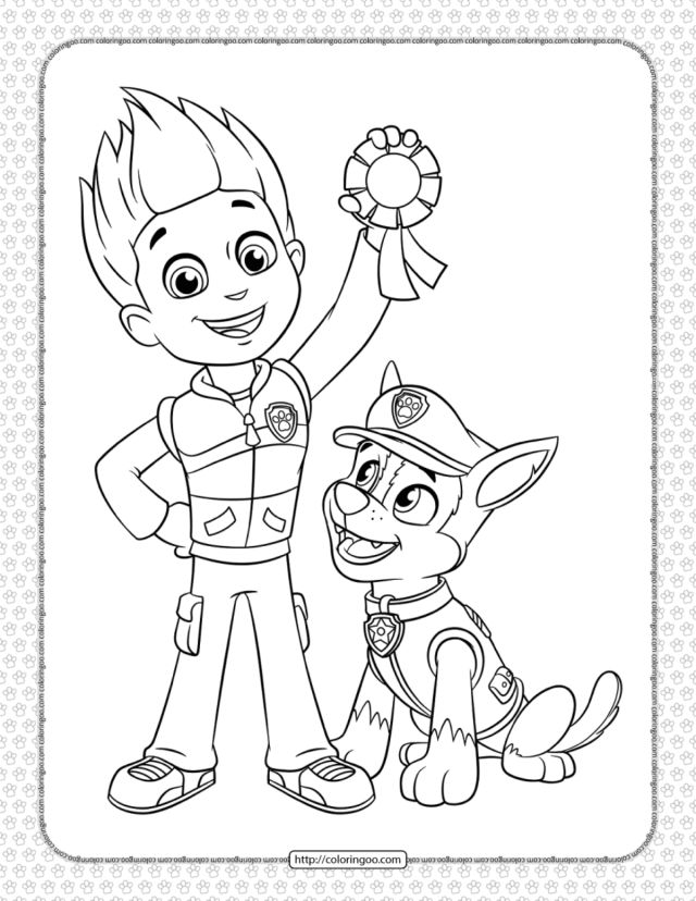 Printable Paw Patrol Ryder and Chase Coloring Sheet