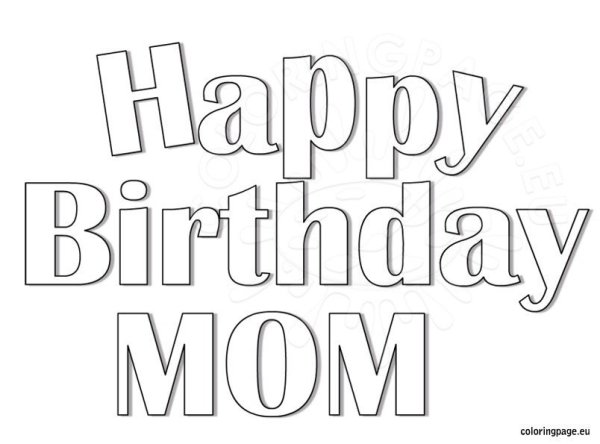 happy birthday mom coloring pages # 8