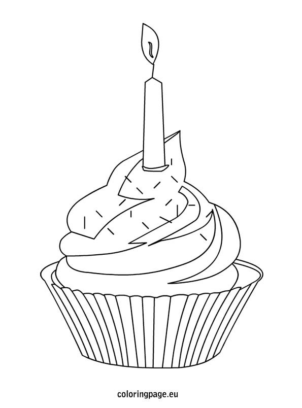 Cupcake with colorful sprinkles and candle