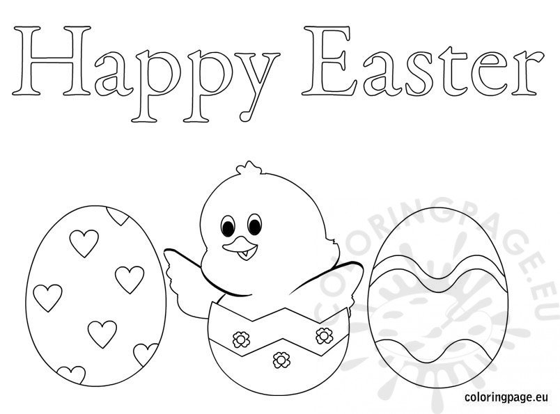 happy easter eggs – coloring page