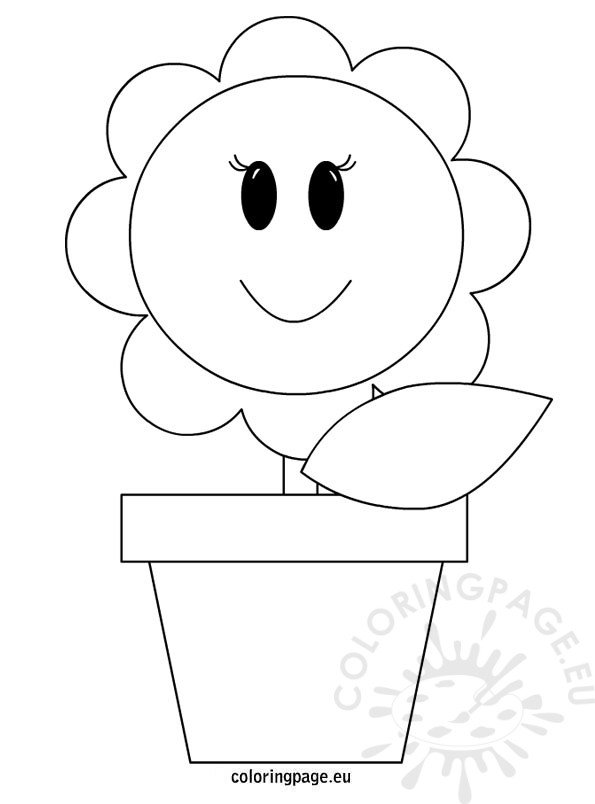 Vase with flower coloring page