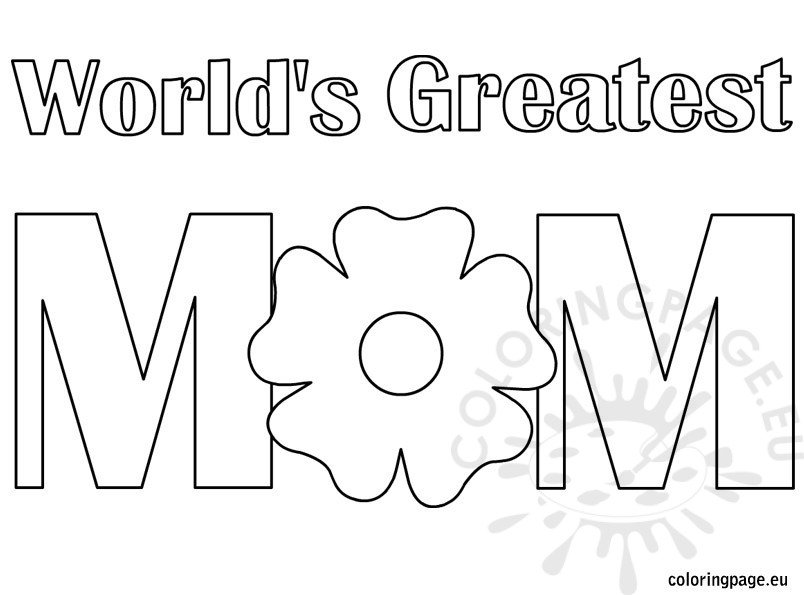 World's Greatest Mom coloring page