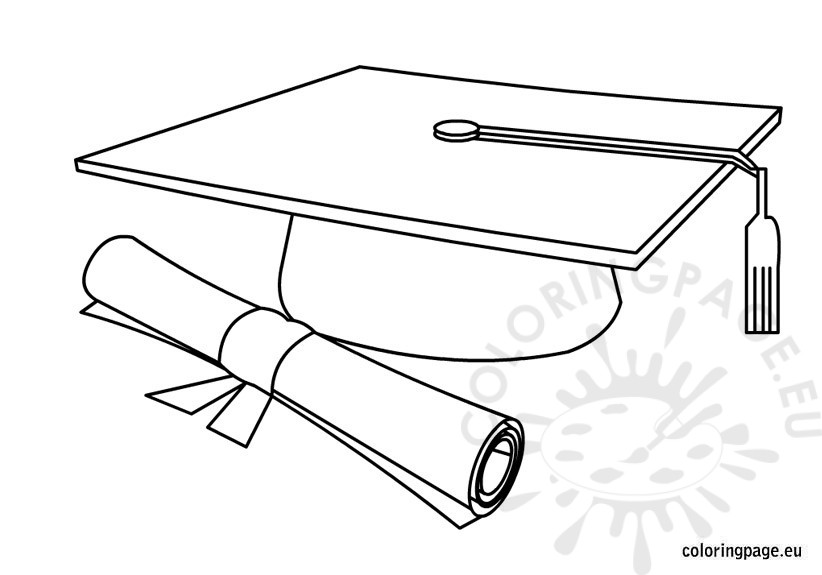 Graduation cap and diploma coloring page