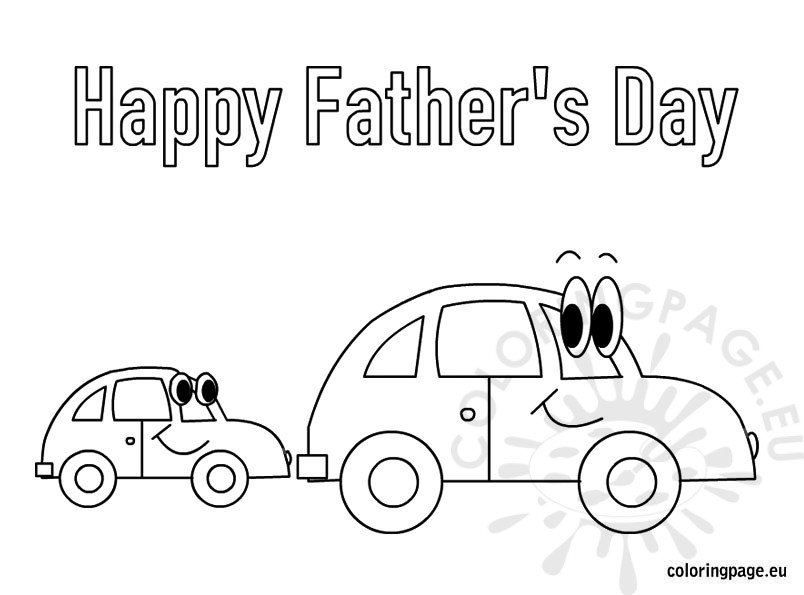 Happy Father's Day cars coloring page