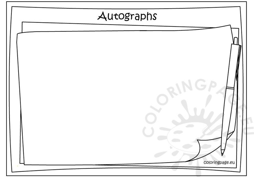 Memory book – Autographs coloring page
