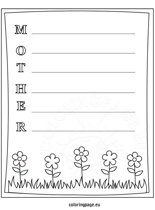 Mother's Day Writing Freebie Coloring Page