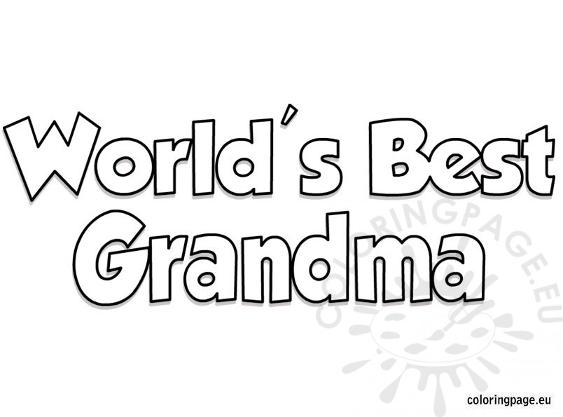 World's Best Grandma coloring page