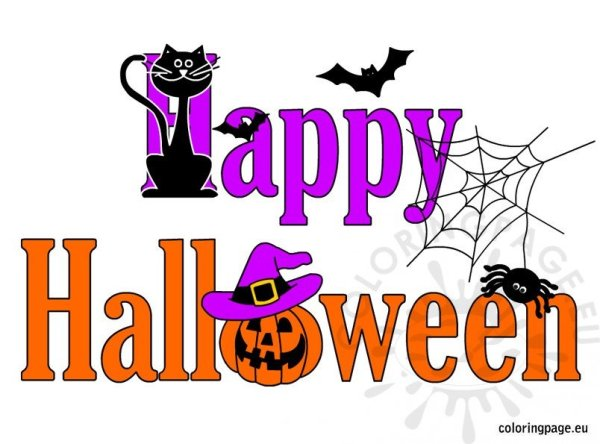 happy halloween clip art coloring