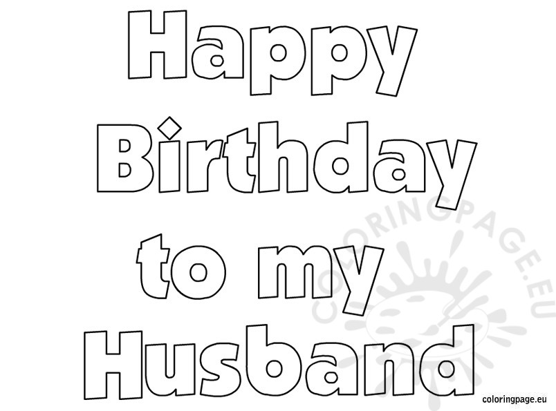 Happy Birthday Husband coloring page