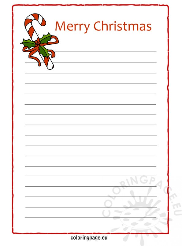 Christmas Letter Paper Coloring Page