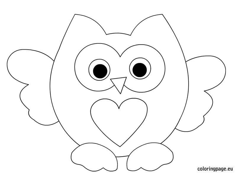 Owl Heart Coloring Pages for Kids