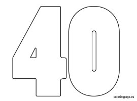 Number 40 – Coloring Page