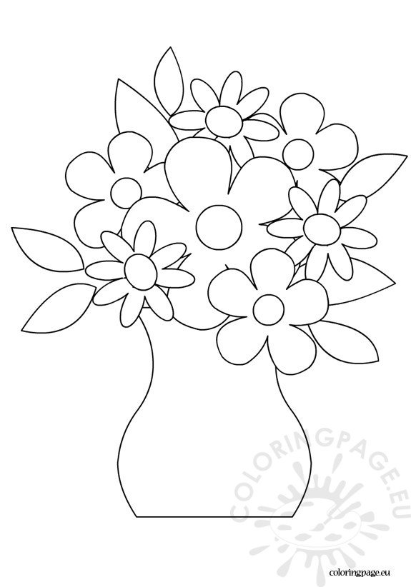 Flowers in a vase coloring page