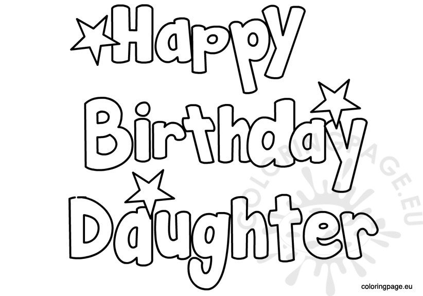Happy Birthday Daughter coloring page
