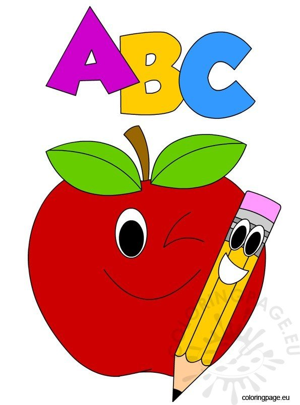 ABC Apple And Pencil Coloring Page