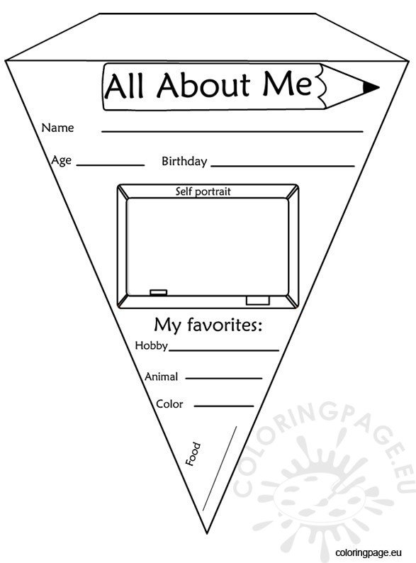 Pennant Banner All About Me Coloring Page