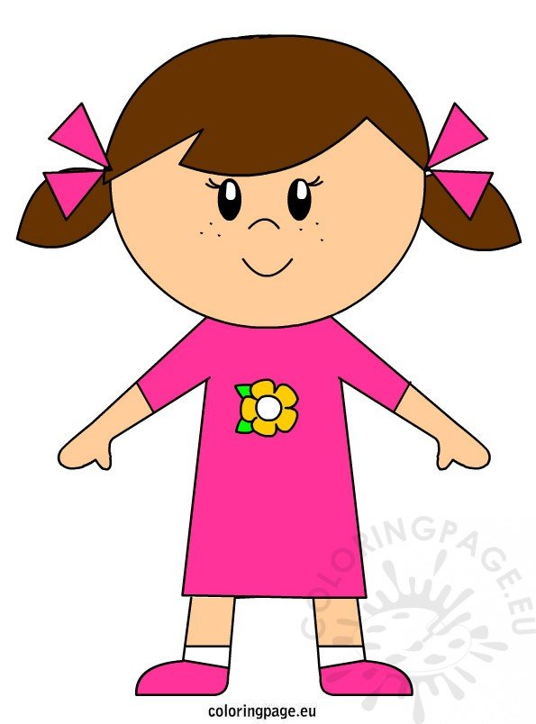 girl clipart free coloring page