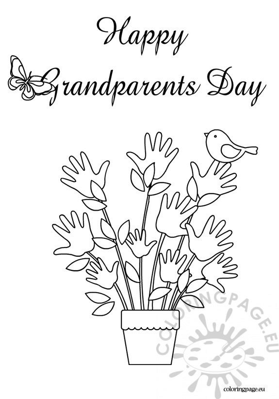 Happy grandparents day coloring sheet