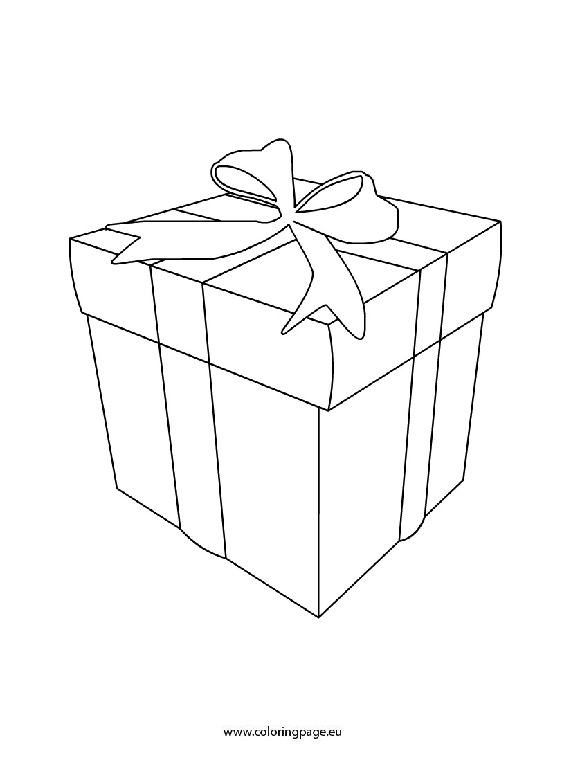 Gift box coloring template