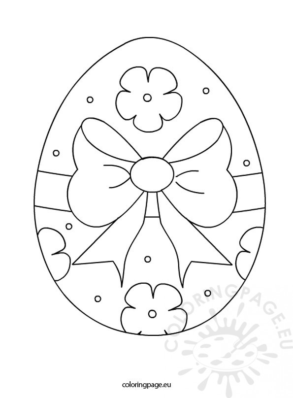 Easter Egg Tied With a Bow – Coloring Page