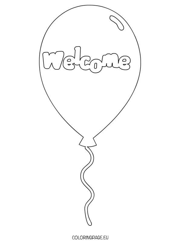 Welcome Balloon coloring page
