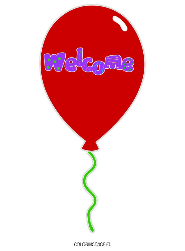 Welcome Balloon 2 Coloring Page