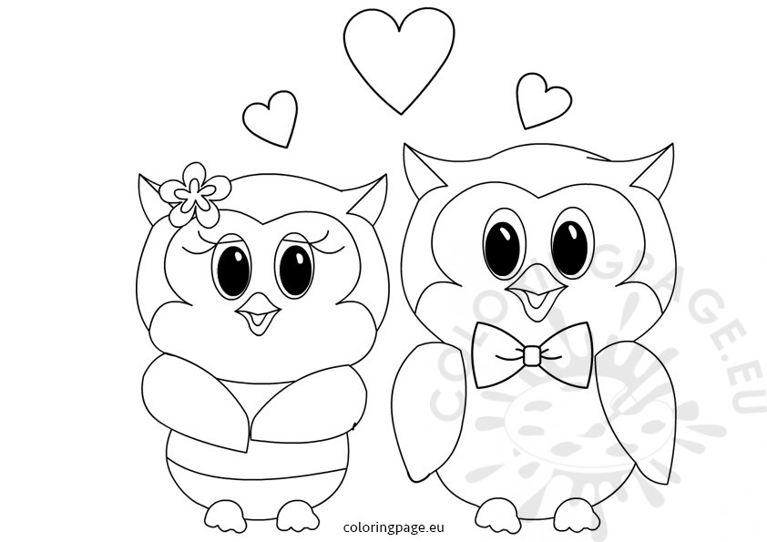 Owls Love Valentines coloring pages