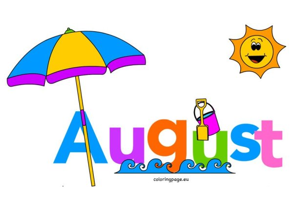 month of august clip art coloring