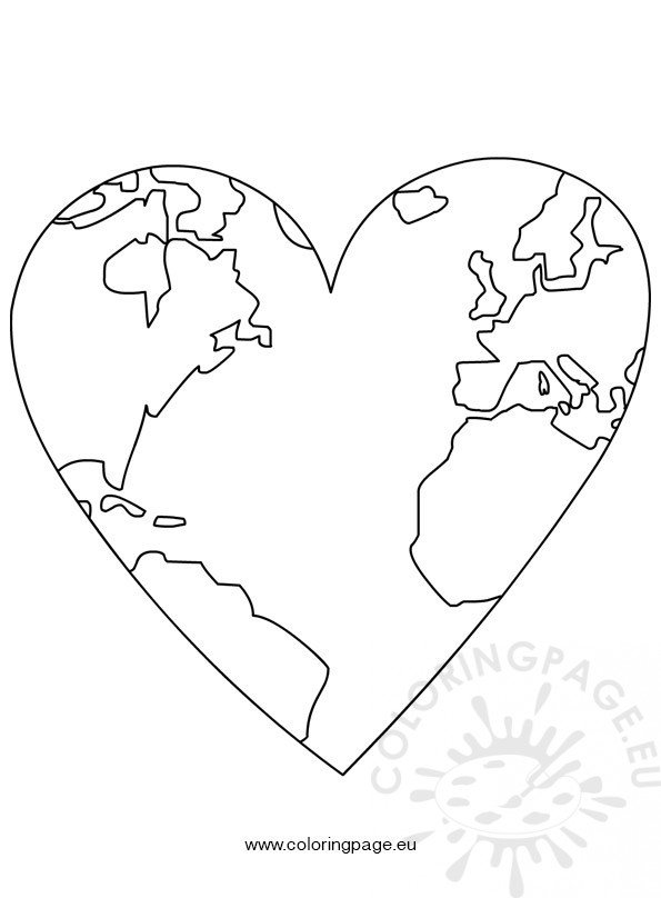 Earth Day – World Map In Heart