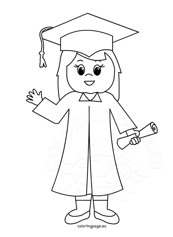 Cute Graduate Girl Coloring Page Coloring Page