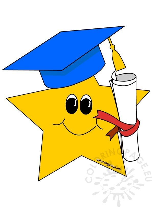 Yellow Star With Graduation Hat Coloring Page