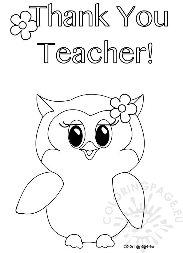 Thank You Teacher Owl coloring page