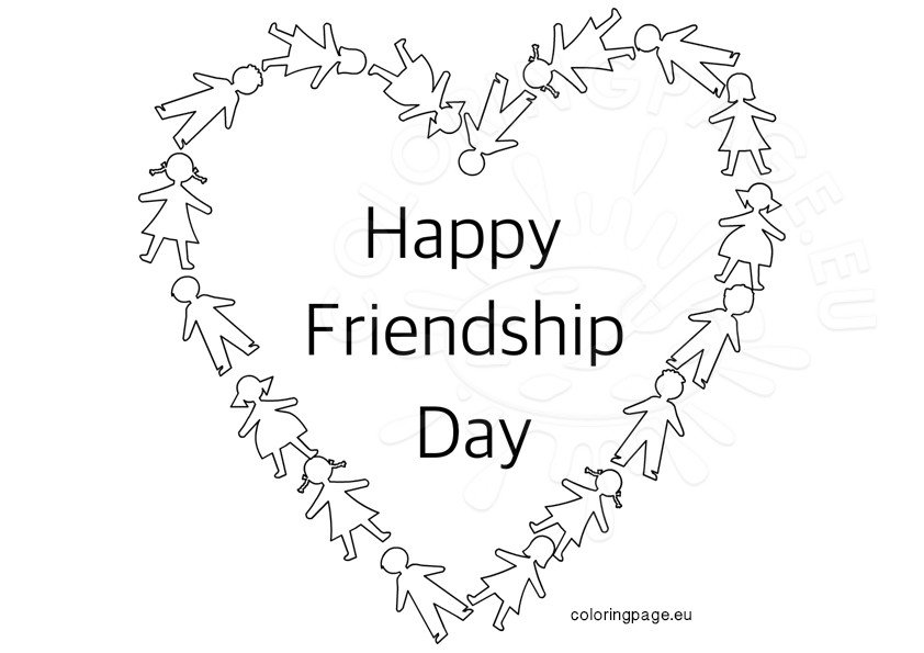 Happy Friendship Day Heart Coloring Page