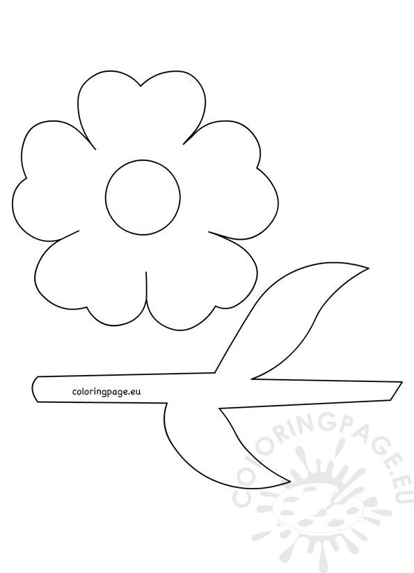 Flower with stem and leaves template